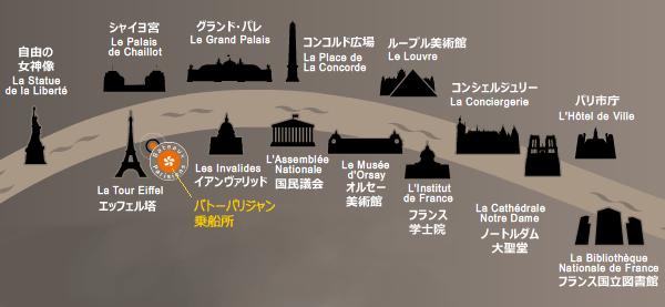 パリ・セーヌ河クルーズの遊覧ルートマップ