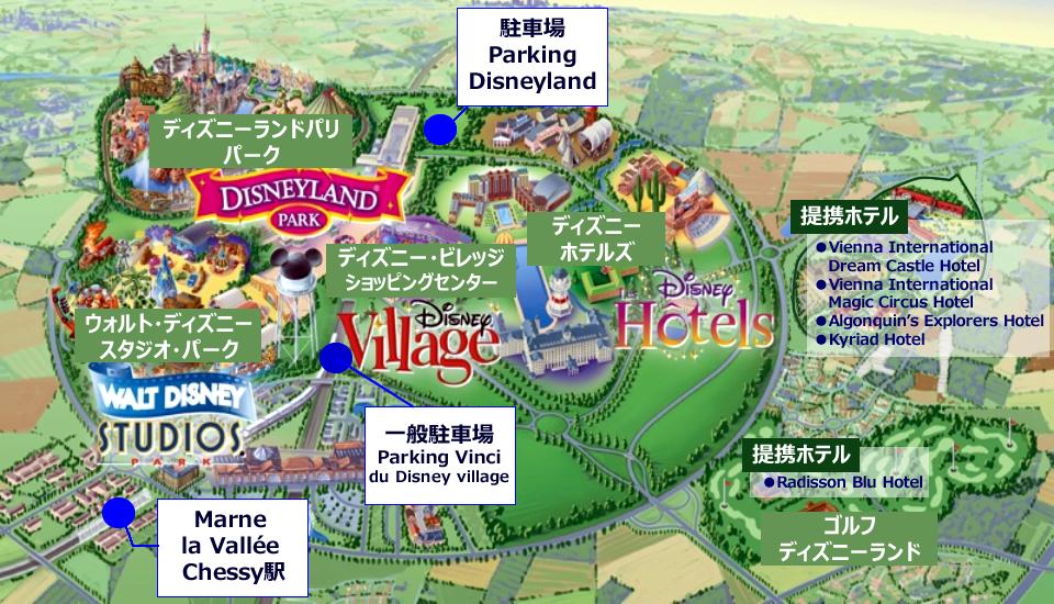 ディズニーランド・パリへの行き方,ディズニーランド・パリ周辺マップ