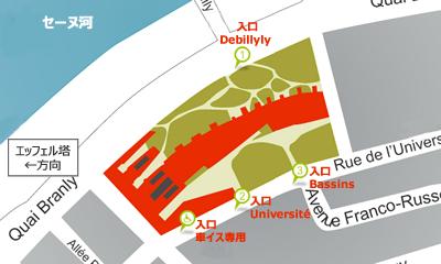 ケ・ブランリ美術館入場口地図