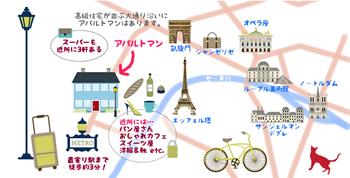 パリのアパルトマン16区短期滞在可,パリのアパルトマン周辺マップ