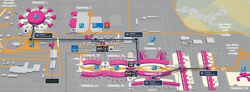 パリCDG空港内ターミナルマップ