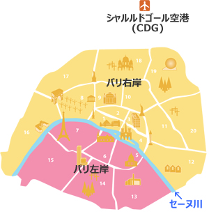 パリのタクシー,パリ空港からパリへのタクシー料金,シャルルドゴールCDG空港からパリのタクシー料金,オルリー空港のタクシー料金,パリ地図,パリ右岸,パリ左岸