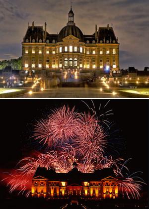 ヴォー・ル・ヴィコント城,キャンドル夜景ライトアップと花火