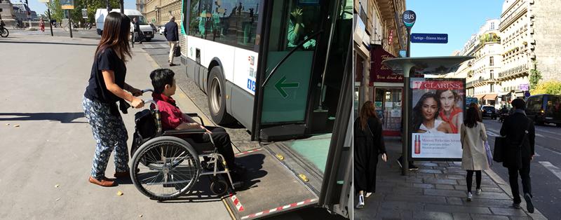 パリの路線バス乗り方,パリのバス,パリ車椅子,パリ車椅子旅行,パリの路線図,パリのバス停,パリのバス乗り方
